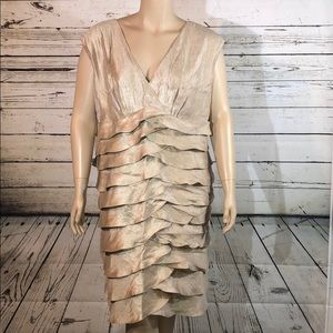 Dressbarn Collection 20W Gold Shimmer Ruffle Dress